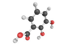 3d structure of Pyrocatechuic acid, also known as Pterostilbene Stock Photos