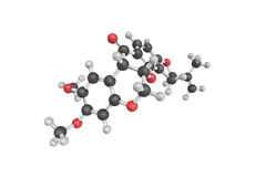 3d structure of Rotenone, an odorless, colorless, crystalline Royalty Free Stock Images