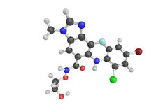 3d structure of Selumetinib AZD6244, a drug being investigated Royalty Free Stock Photography