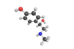 3d structure of Synephrine, an alkaloid, occurring naturally in. Some plants and animals. p-Synephrine and m-synephrine are known for their longer acting Royalty Free Stock Photos