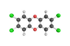 3d structure of TCDD, a polychlorinated dibenzo-p-dioxin  Royalty Free Stock Photography