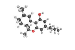 3d structure of Tetrahydrocannabinol (THC), the principal psycho Stock Photography