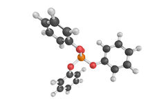 3d structure of Triphenyl phosphate, a colourless solid  Royalty Free Stock Photography