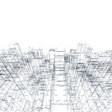 3d structure, wire frame lines over white. Digital background texture with cubic 3d structure, wire frame lines over white background royalty free illustration