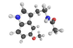 3d structuur van Melatonin, een hormoon door pineal glan wordt geproduceerd die Stock Afbeelding
