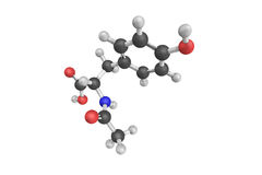 3d structuur van n-Acetyl l-Tyrosine, een acetylated vorm van l-Tyr Stock Afbeelding