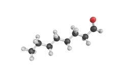 3d structuur van Octanal, een aldehyde Kleurloze geurig stock illustratie