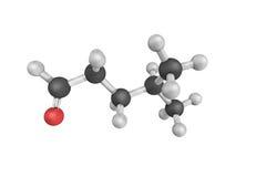 3d structuur van Pentanal, ook genoemd pentanaldehyde of valerald Stock Foto's