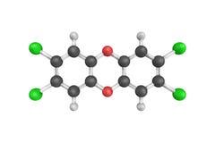 3d structuur van TCDD, een polychlorinated dibenzo-p-dioxin stock illustratie