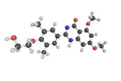 3d struktur av Apabetalone, en muntligt tillgänglig liten molekyl Arkivbild