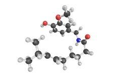 3d struktur av Capsaicin, en aktiv del av chilipeppar stock illustrationer