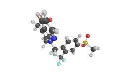 3d struktur av Fevipipranis, en drog som agerar som ett selektivt, Royaltyfria Bilder
