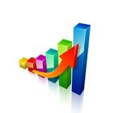 3d strzała i wykresu narastający up Zdjęcia Stock