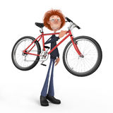 The 3D student by bicycle. Stock Photo