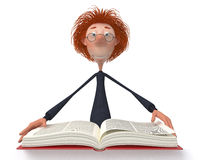 The 3D student with the book. Royalty Free Stock Photo