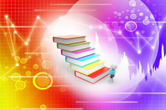 3d student and books, education concept. In attractive color background Stock Photos