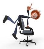 The 3D student in a chair. Royalty Free Stock Photography