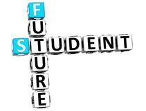 3D student Future Crossword Royaltyfri Foto