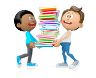 3D students with notebooks Stock Photos