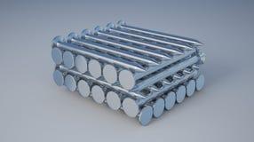 3D studio di bianco di molti chiodi Immagine Stock Libera da Diritti