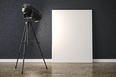 3d studio light projector and canvas frame. 3d studio light projector and blank canvas frame Stock Photography