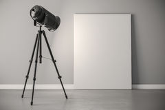 3d studio light projector and canvas frame vector illustration