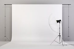 3d studio setup with lights and white background vector illustration
