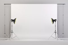 3d studio setup with lights and white background. Computer generated royalty free illustration