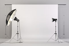 3d studio setup with lights and white background. Computer generated Royalty Free Stock Photo