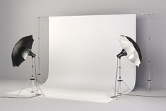 3d studio setup with lights and white background Royalty Free Stock Images