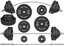 3D Studio shots of a metal barbells and weights  on whit Stock Photo