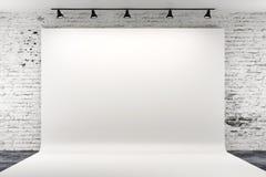 3d studioopstelling met lichten en witte achtergrond Royalty-vrije Stock Afbeeldingen