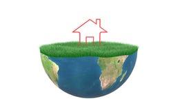 3D Stwarzają ognisko domowe z trawy ziemią Obrazy Royalty Free