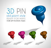 3d Style pin made wit a lot of shapes and in 5 different colors. Royalty Free Stock Photo