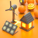 3d stylised energy house. 3d stylised sun batterys and wind-driver power station gives energy for house vector illustration