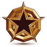 3d stylish vector template with pentagonal black star symbol pla. Ced on a golden rounded surface, best for use in web and graphic design. Conceptual Royalty Free Stock Images