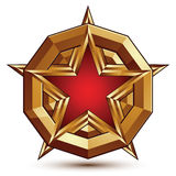 3d stylish vector template with pentagonal red star symbol place. D on a golden rounded surface, best for use in web and graphic design. Conceptual aristocratic Stock Photography