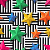 3d stylized multicolor stars on black, white striped background. Royalty Free Stock Photos