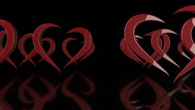 3D Stylized Rotating Love Hearts in Black Background stock footage