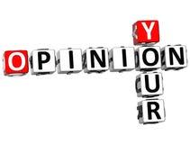 3D suas palavras cruzadas da opinião Fotografia de Stock Royalty Free