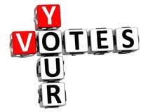 3D suas palavras cruzadas dos votos Imagem de Stock Royalty Free