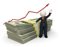 3d succesful business man - pack of money - graph  Royalty Free Stock Photo