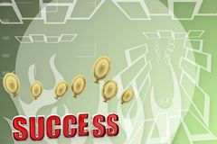 3d success with balloon Illustration Royalty Free Stock Photo