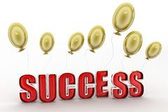 3d success with balloon Royalty Free Stock Photo