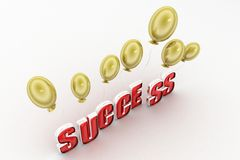 3d success with balloon Stock Images