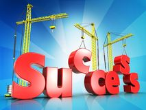 3d success building over light rays. 3d illustration of success building sign with three cranes over light rays background Royalty Free Stock Photography