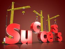 3d success building over red. 3d illustration of success building sign with three cranes over red background Royalty Free Stock Images