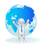 3D Success man with globe world Stock Photos