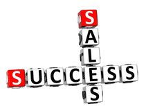 3D Success Sales Crossword Stock Images