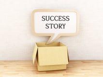 3d Success Story written in Speech bubble. 3d illustration. Success Story written in Opened box with Speech bubble. Inspiration concept Royalty Free Stock Photography